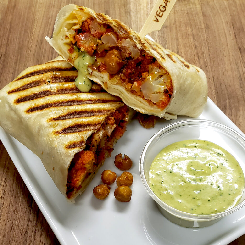 Photo of the weekend special, tandoori cauliflower pannito with Meanie Sauce